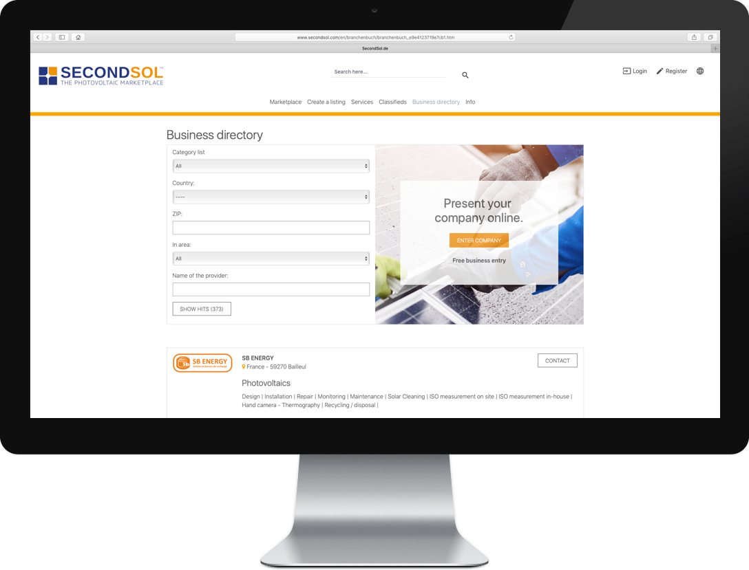 SecondSol eu launches business directory for services around
